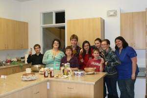 Secondary school pupils organised a Cipaille Supper to raise funds for their end of year trip. From left to right: Simon Lapierre, Bianca Castonguay, Lousie Lapierre, Guillaume Soucy-Ross, Audrey Bernier, Olivier Levesque (front), Alena Kalbhenn (back) and Kariane Levesque, with their teacher Erin Ross.