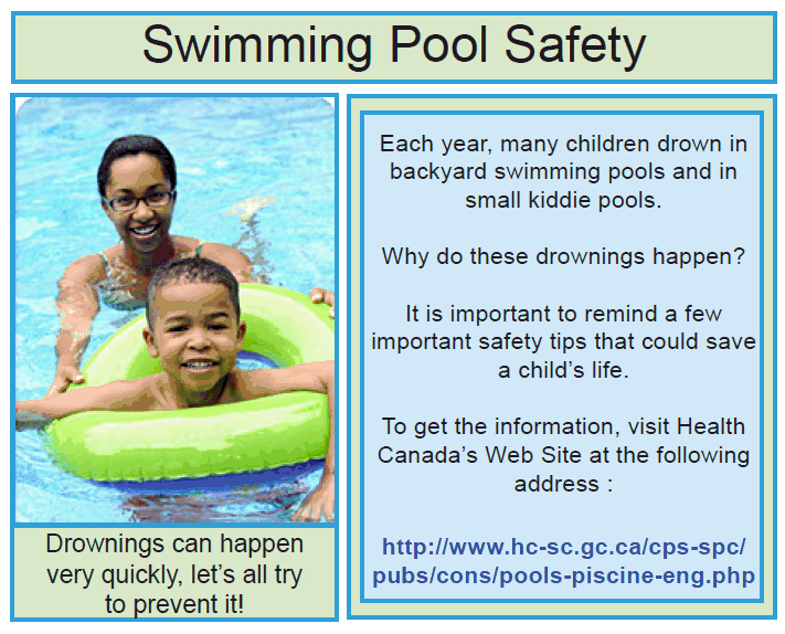 Swimming Pool Safety Message From Health Canada Heritage Lower Saint Lawrence