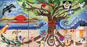 Tree of Life - intercultural mosaic project that brought together 12 immigrant women to express their cultural roots. Photo: Janie Malenfant